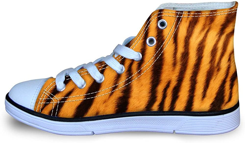 Bigcardesigs Cool Animal Fur Pattern Canvas Hight Top Shoes for Childen Lace-up