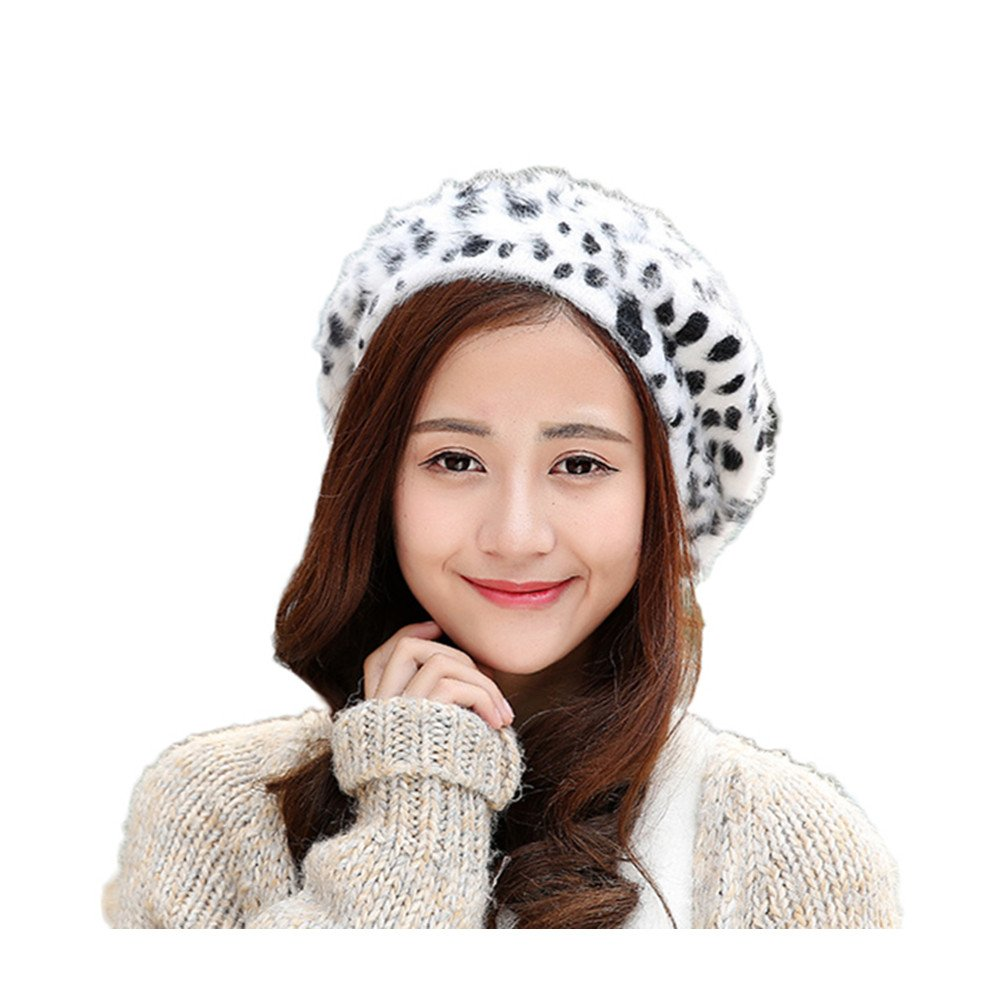 0d6d82a31da WeeH Beret Hat for Women Gril Winter Hats Cute Cat Wool Beanie Cap Gray Dot  Cow  Amazon.in  Clothing   Accessories