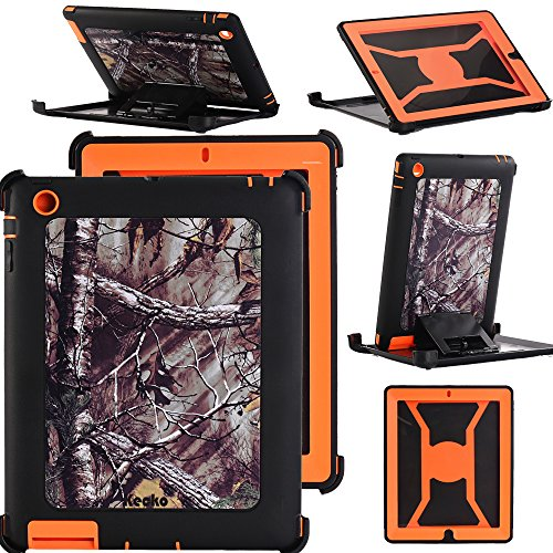 KeckoDefender Hunting Tree Camouflage Shock-Absorbing Military Duty High Impact Scratch Resistant Tough Rubber Combo Stand Case w/Built-in Screen Protector for ipad 2/3/4 for Women/Men/Kids (X/O) (Xo Tablet Case)