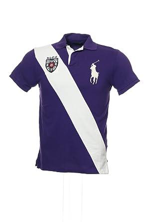 Polo Ralph Lauren Men\u0026#39;s Custom Sash Big Pony Polo Shirt, Purple/White, Large
