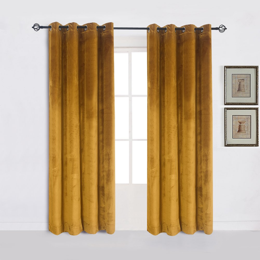 Super Soft Luxury Velvet Set of 2 Warm Yellow Blackout Velvet Energy Efficient Grommet Curtain Panel Drapes Ginger 52Wx96L(2 panels) with Matching Tiebacks