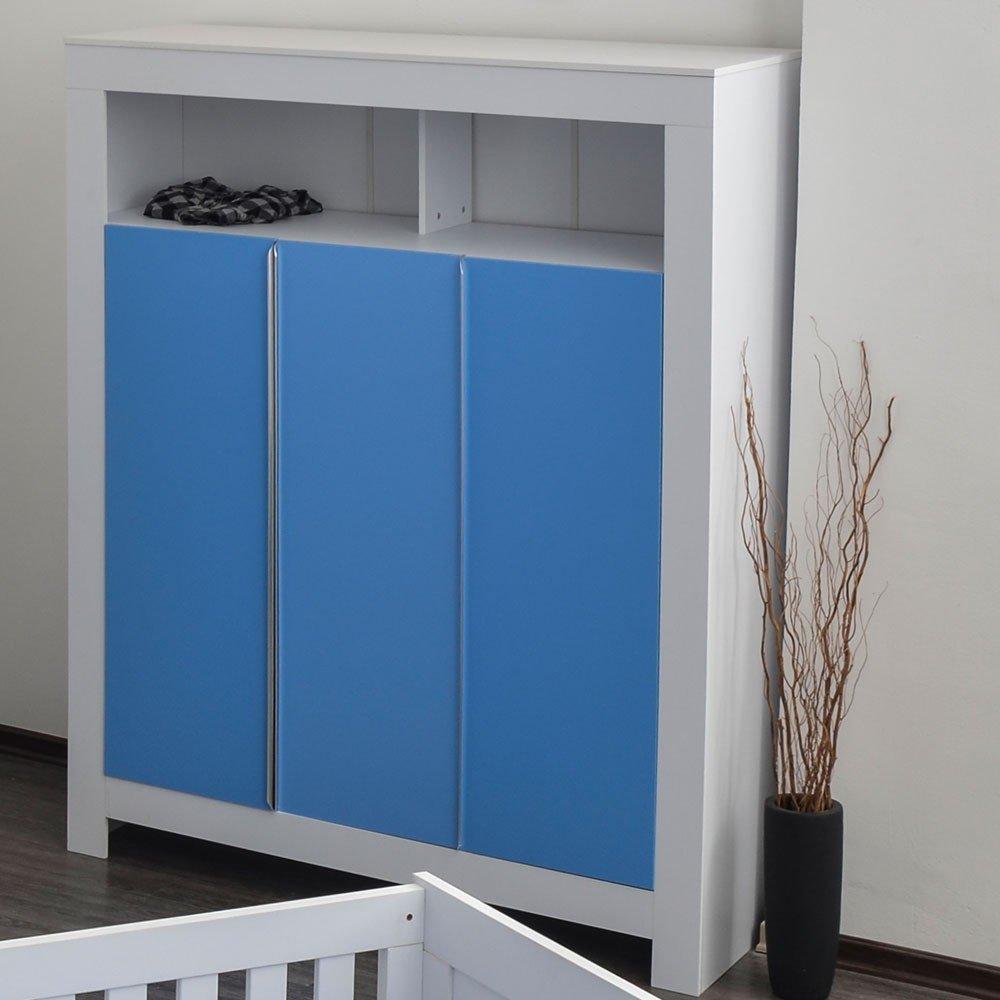 Kleiderschrank 3-türig Felix in weiß mit blauen Schranktürfronten