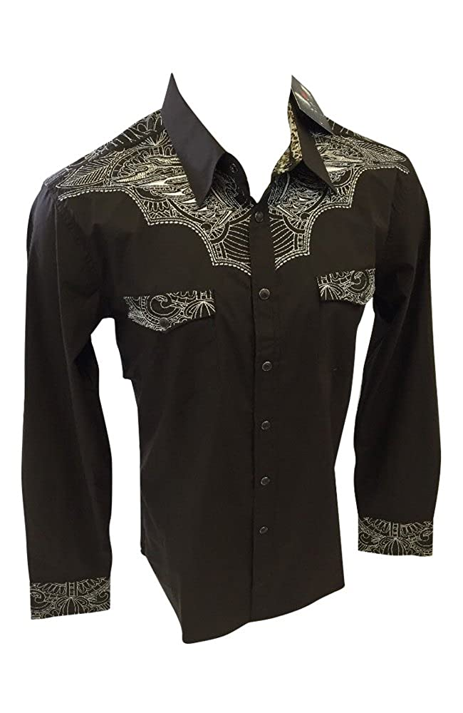 Mens House of Lords Designer Long Sleeve Button Down Snap Up Shirt Brown Two Pocket White Stitching 1174