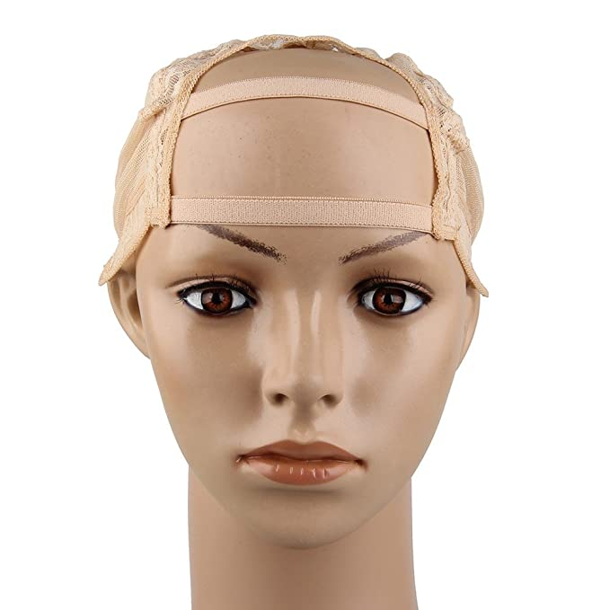 Beauty7 23.5 inch U-Part Wig Cap Malla Encaje Nylon Gorroa para Pelucas  Extensiones de Pelo Cabello Mecanismo Completo Ajustable Respirable  Flexible Negro ... b3de56363949