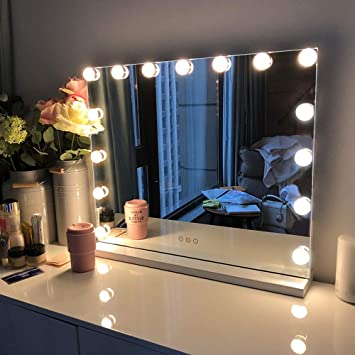 Amazon Com Fenchilin Large Vanity Mirror With Lights Hollywood Lighted Makeup Mirror With 15 Dimmable Led Bulbs For Dressing Room Bedroom Tabletop Or Wall Mounted Slim Metal Frame Design White