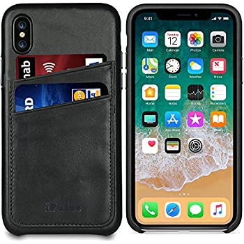 Apple iPhone X Leather Case - iPulse [Dallas Series] Full Grain Leather Snap On Card Holder Case - [Ultra Slim] [Hard Back Cover] [Sensitive Buttons] - Charcoal Black