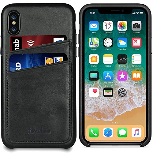 Apple iPhone Xs/iPhone X Leather Case - iPulse [Dallas Series] Full Grain Leather Snap On Card Holder Case - [Ultra Slim] [Hard Back Cover] [Sensitive Buttons] - Charcoal Black ()
