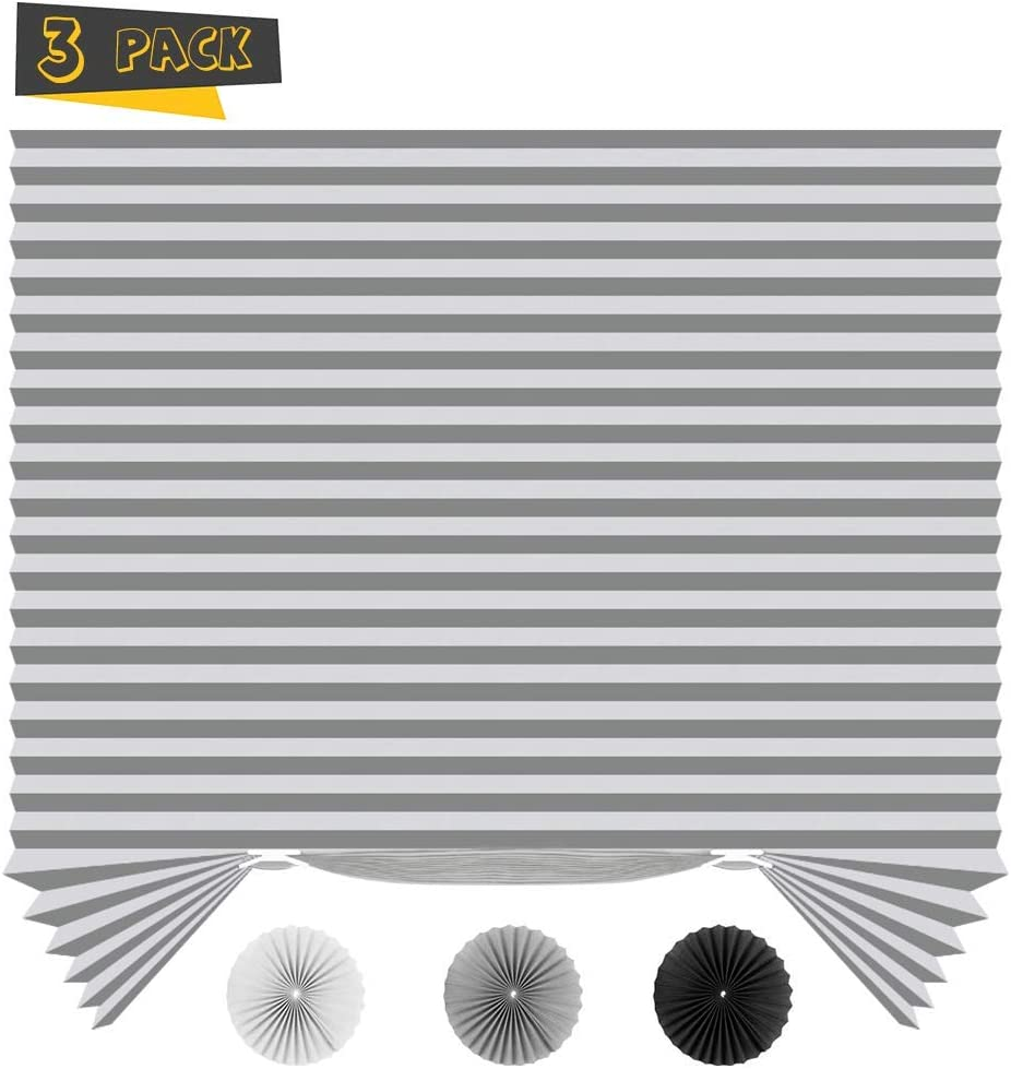 "SEEYE Light Filtering Temporary Blinds Cordless Shades Fabric Pleated Fabric Shade Easy to Cut and Install, 36"" W x 72"" L - 3 Pack, Grey,with 6 Clips"
