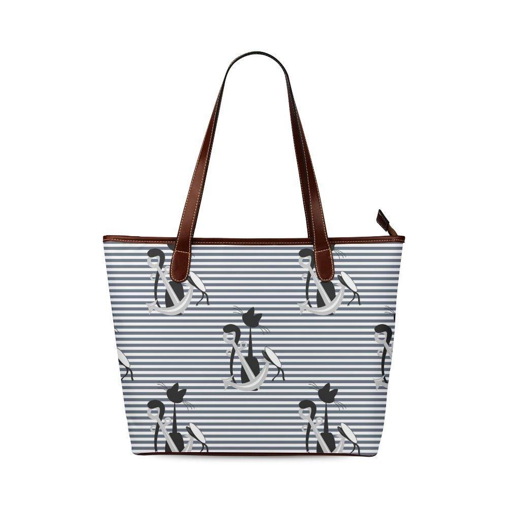 Fashion Bag Custom Seamless Pattern of Nautical Navy Anchors And Cat Shoulder Tote Bag