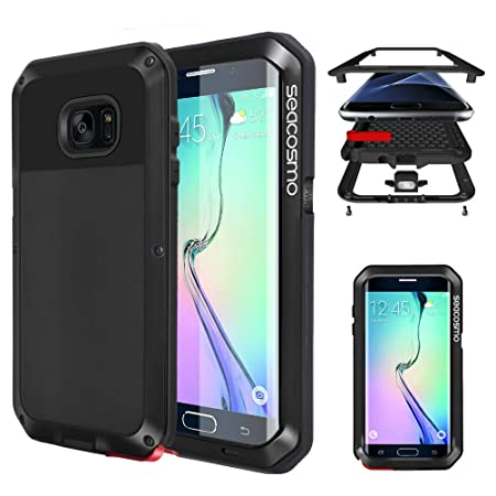 seacosmo Galaxy S6 Edge Hülle, [Tough Armor] Aluminium Doppelte Schutz Stoßfest Schutzhülle für Samsung Galaxy S6 Edge, Schwa