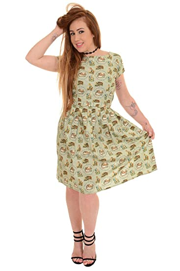 0f8bd40e0075 Ladies 50s 60s Retro Vintage Green Alice In Wonderland Tea Party Dress:  Amazon.co.uk: Clothing