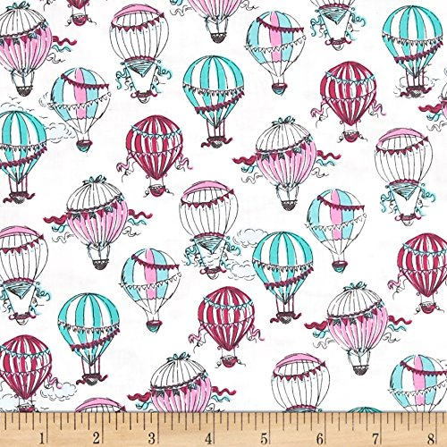 C'Est La Vie Hot Air Balloons White Fabric By The - Hot Designed Balloon Air