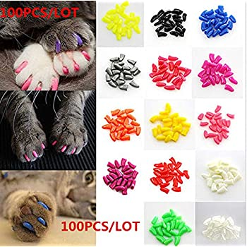 100Pcs Soft Pet Cat Nail Caps Claws Control Paws Of 5 Kinds Different Colors + 5Pcs Adhesive Glue + 5pcs Applicator with Instructions (S)