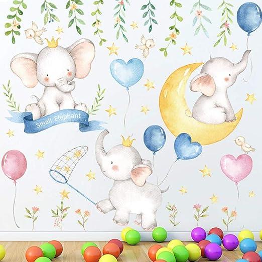 TIGOWL Dibujos Animados Pequeño Elefante Luna Estrellas Pegatinas ...