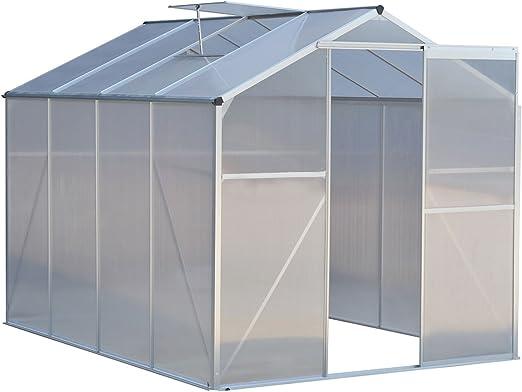 Nueva mtn-g 8, 2 x 6.2ft Walk-in jardín invernadero resistente de aluminio techo de policarbonato: Amazon.es: Jardín