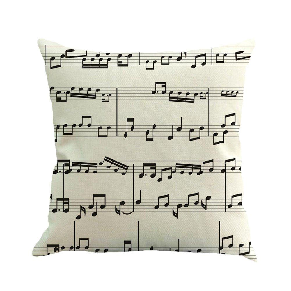 Jujunshangmao Musical Note Pattern, Classical Style, Decorative Linen Pillow