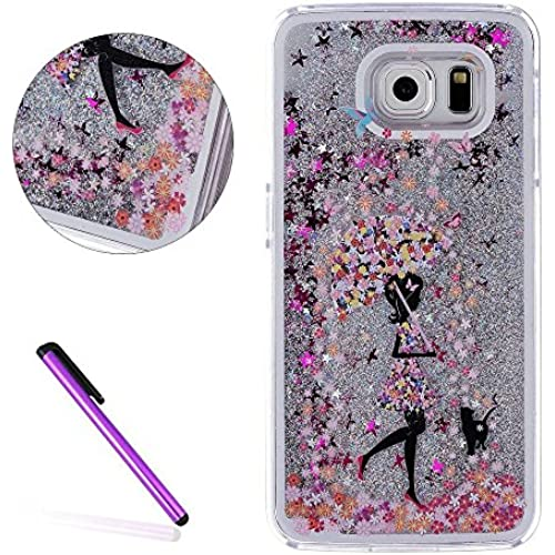 Galaxy S7 Edge Case,ISADENSER 3D Glitter Flowing Liquid Floating Quicksand Moving Hard Protective Case for Samsung Galaxy S7 Edge + 1 Stylus Pen Silver umbrella girl Sales