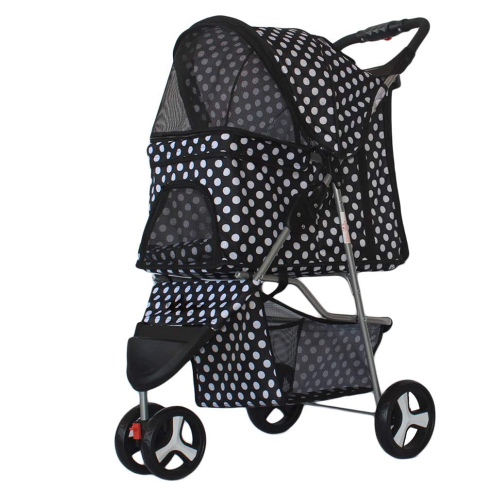 H MZP Pet Travel Stroller Cat Dog Suspension Pushchair Trolley Puppy Jogger Carrier Three Wheels Load Within 60kg Large 360 Degree Pushchair redatable Cup Holders Storage Basket (color   H)