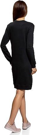 oodji Ultra Mujer Vestido de Estilo Deportivo con Estampado y Pedrería