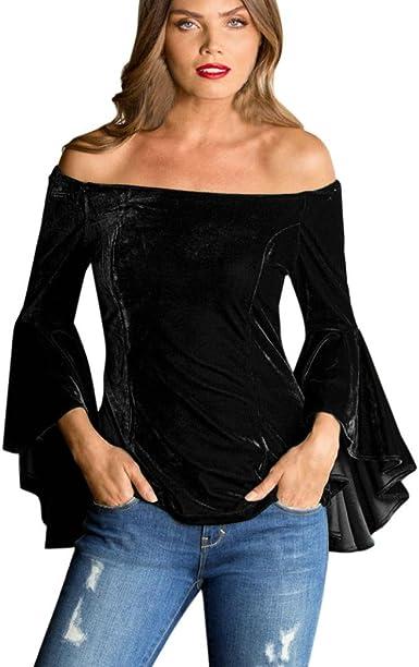 QinMM Blusa de Manga Larga de Mujer, Manga de Campana Camiseta sin Hombro Camisa (Negro, S): Amazon.es: Ropa y accesorios