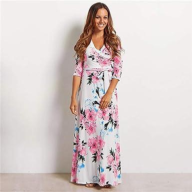 Women Boho Floral Maxi Dress Party Evening Summer Beach Sundress Plus Size UK