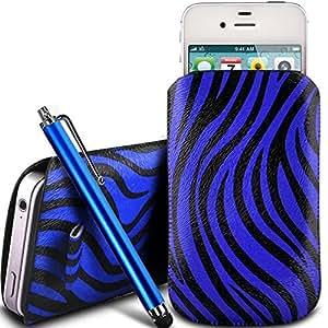 Online-Gadgets UK - Nokia Lumia 920 protección PU Zebra Diseño deslizamiento cordón tirador de la cremallera en la caja de la bolsa con cierre rápido y grande Stylus Pen - Azul