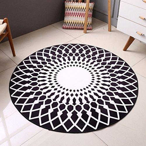 Rug WAN SAN QIAN Creative Round Living Room Carpet Home Fashion Carpet Bedside Blanket Carpet Bedroom (Color : Black, Size : 80x80cm)
