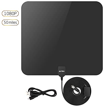 AuYou Ultrathin Indoor Amplified HDTV Antennas - 50 Mile Range with 16ft Highest Performance Coax Cable