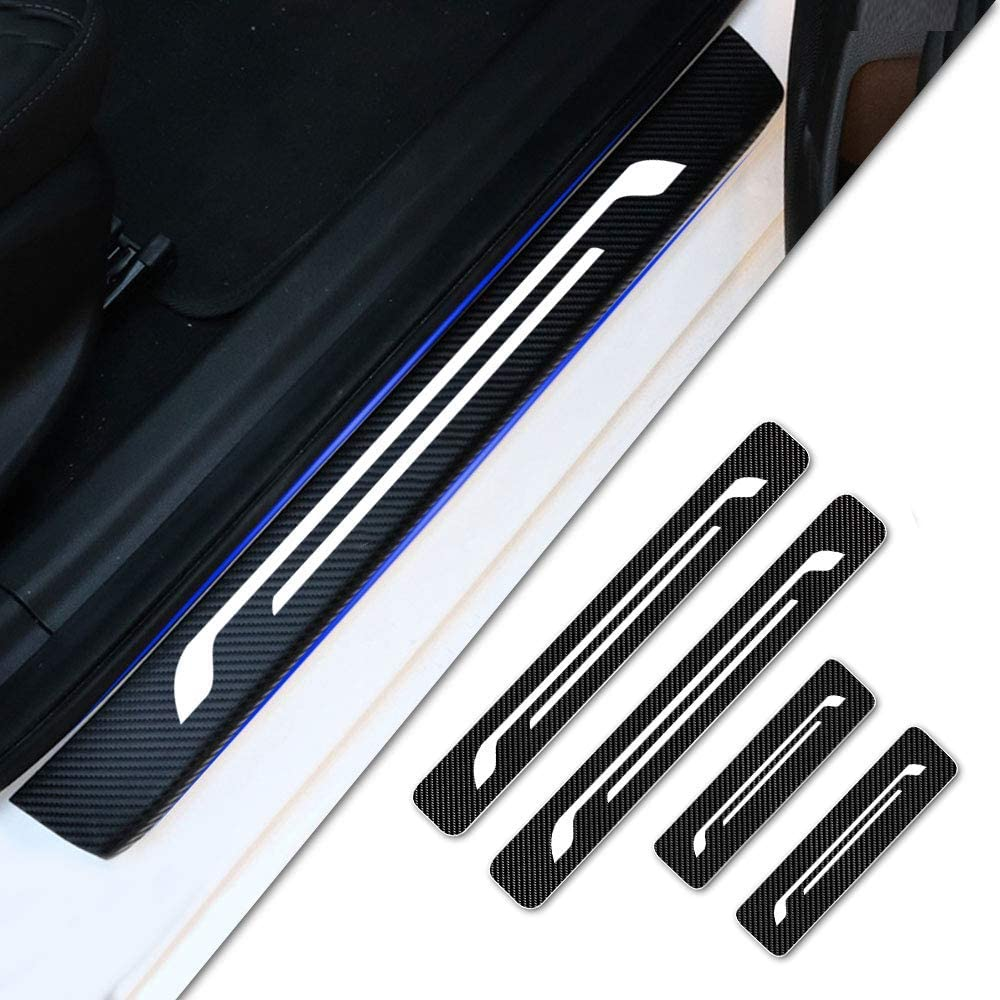 Tuqiang Car Decoration Door Sill Scuff Plate Door Sill Protectors 4D Carbon Fiber Sticker 4Pcs for Clio Megane Captur