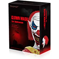 Unomor Halloween Scary Clown Mask with Red Hair for Adults Costume Party