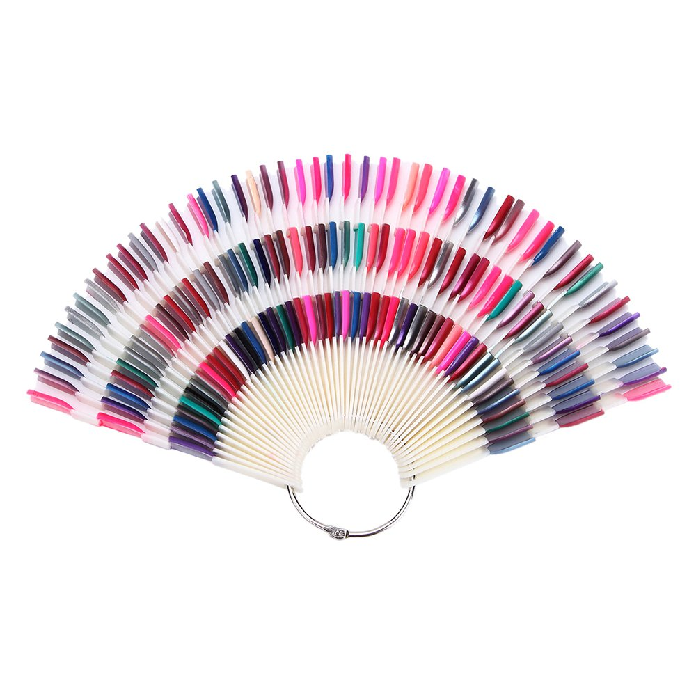 150TIPS/set False Nail Tips Colour Pop Sticks Gel Nail Polish Display Fan Chart with Metal Ring Starter Kit (Natural-Bamboo Sticks) 50PCS By TPnail Limited UKAIALIDTV2165