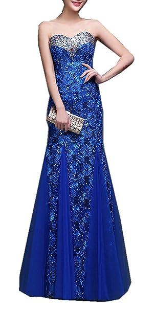 emmani largo cordones, diseño de sirena novia nuevo azul, morado y rojo de encaje