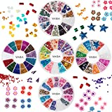 gem bows - 3D Nail Art Manicure Designs Set of 5 Wheels With Colorful Bowties Crystals Rhinestones Gems, Caviars Pearls Beads In Different Colors, Hearts and Flowers Shaped Fimo Decorations Pieces Slices