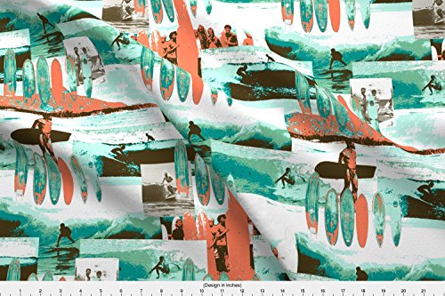 Surf Board Fabric Surfing Old School by Bloomingwyldeiris Printed on Fleece Fabric by the Yard by - Surf Of Types Different Boards