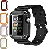 Apple Watch Case Series 3 Series 2 Series 1, iitee 5 in 1 Universal Full Armor Case and Band Strap with Screen Protector for Apple Watch (5 in 1-38mm)
