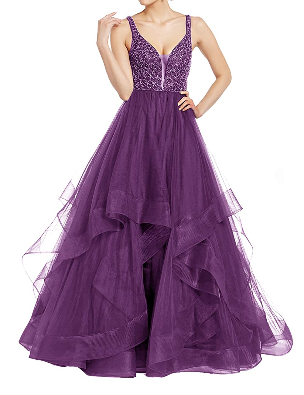 Purple Uther Elegant Tulle Evening Ball Gowns Long Beaded Formal Prom Party Dresses