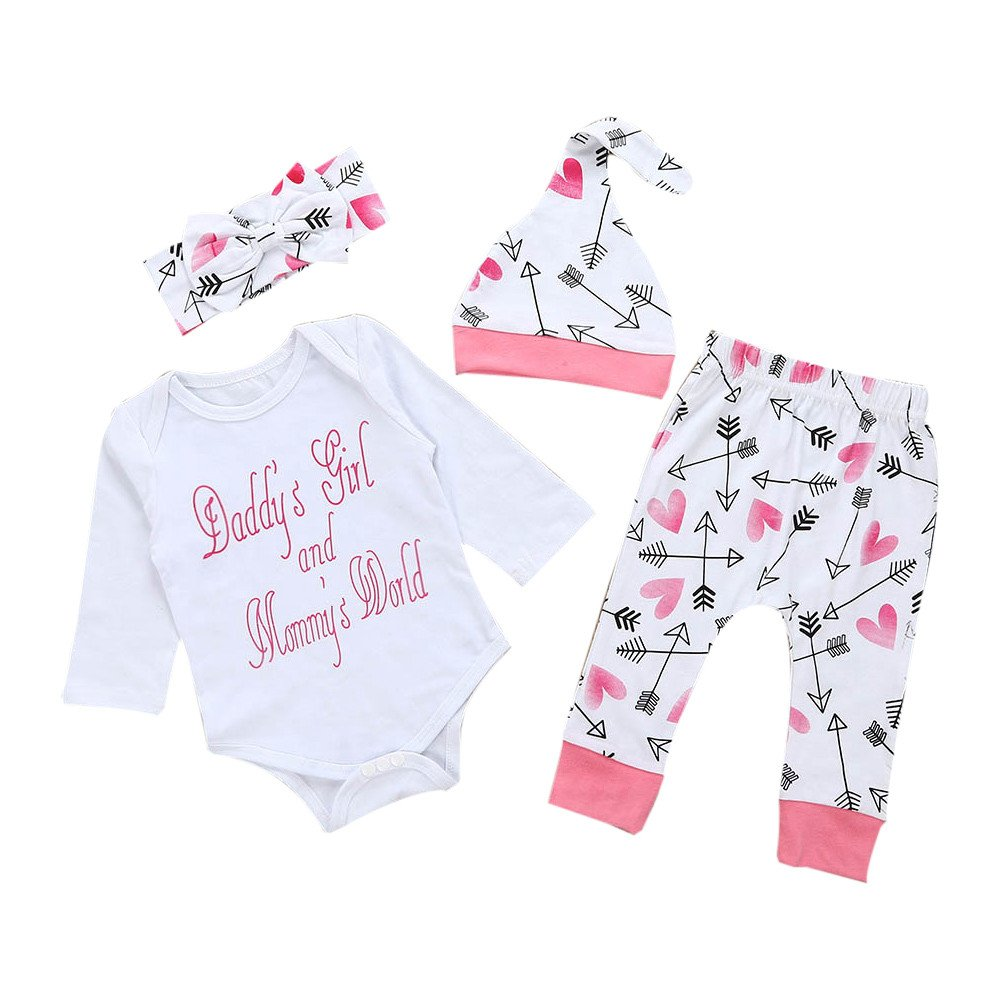 Proumy Newborn Infant Baby Girl Clothes Letter Romper Top+Pants+Hat+Headhand 4PC Outfits Clothes Set