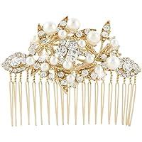 Ever Faith Bridal Leaf Cream Simulated Pearl Clear Austrian Crystal Hair Comb