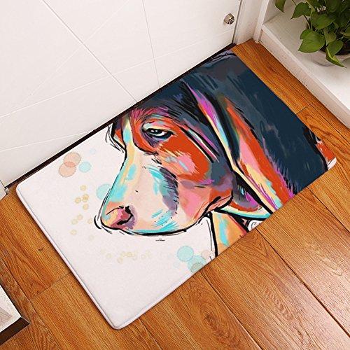 """YJ Bear Thin Cool Red Dog Pattern Floor Mat Coral Fleece Home Decor Carpet Indoor Rectangle Doormat Kitchen Floor Runner 16"""" X 24"""""""