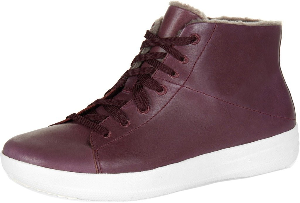 FitFlop Women's F-Sporty Sneakerboots in Leather Sneaker, Deep Plum, 7.5 M US