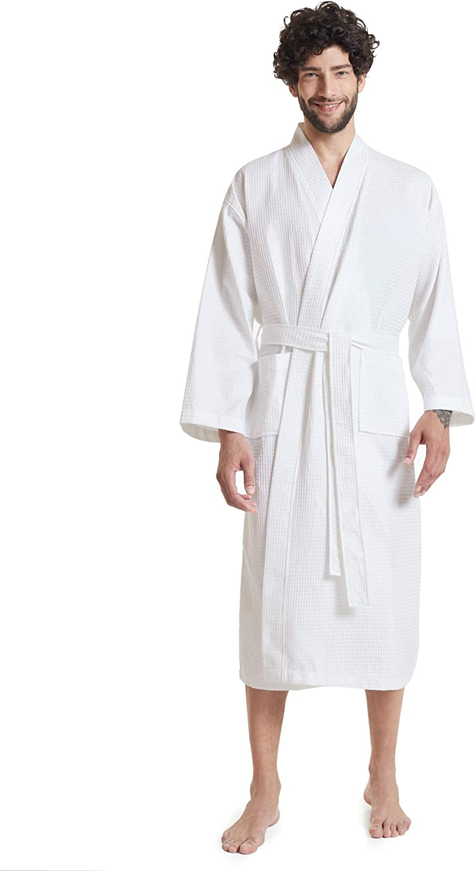 SIORO Men's Waffle Robe Lightweight Kimono Spa Robes Cotton Waffle-Wave Bathrobes Calf Length Nightware for Hot Tub Hotel