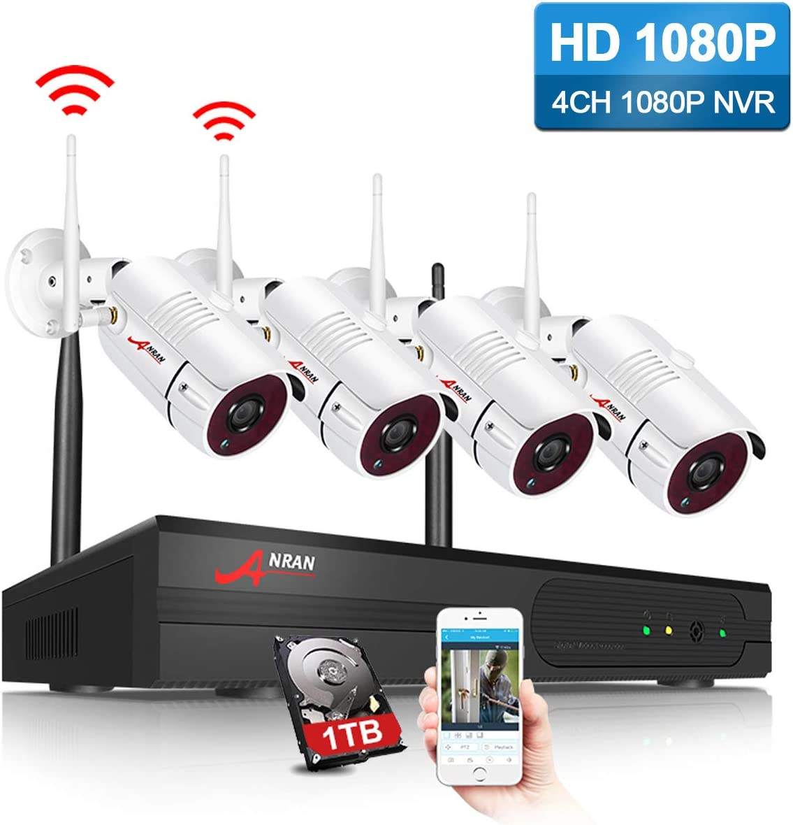 Amazon Com Anran Security Camera System Wireless Outdoor 1080p 4 Channel Video Security System With 1tb Hard Drive 4pcs 1080p Hd 2 0 Megapixel Wireless Weatherproof Bullet Ip Cameras Night Vision P2p Free App Home Improvement