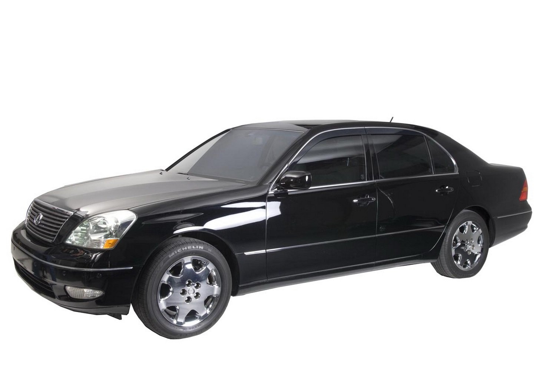 4-Piece Set for 2001-2006 Lexus LS430 Auto Ventshade 794006 Low Profile Ventvisor Side Window Deflector with Chrome Trim