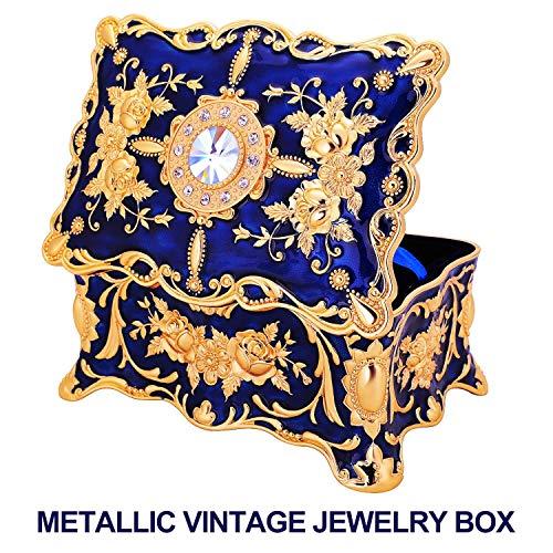 Pearl Jewelry Trinket Box - Ophanie Jewelry Boxes Gift for Girls Teens Women,Vintage Metal Case Organizer Storage Box (Blue)