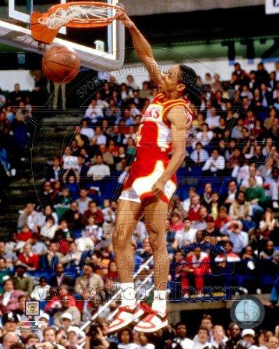 Webb Spud Dunk - NBA Spud Webb Atlanta Hawks 1986 Slam Dunk Contest Action Photo 8x10
