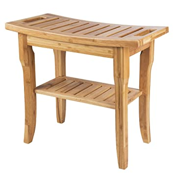 SMAGREHO Bamboo Shower Bench Seat With Storage Shelf And Handles For  Bathroom,Living Room,
