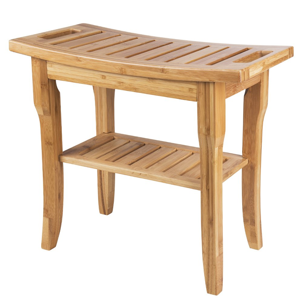 SMAGREHO Bamboo Shower Bench Seat with Storage Shelf and Handles for ...