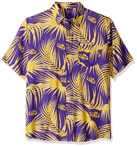 (FOCO NCAA LSU Tigers Mens Hawaiian Button Up ShirtHawaiian Button Up Shirt, Team Color,)