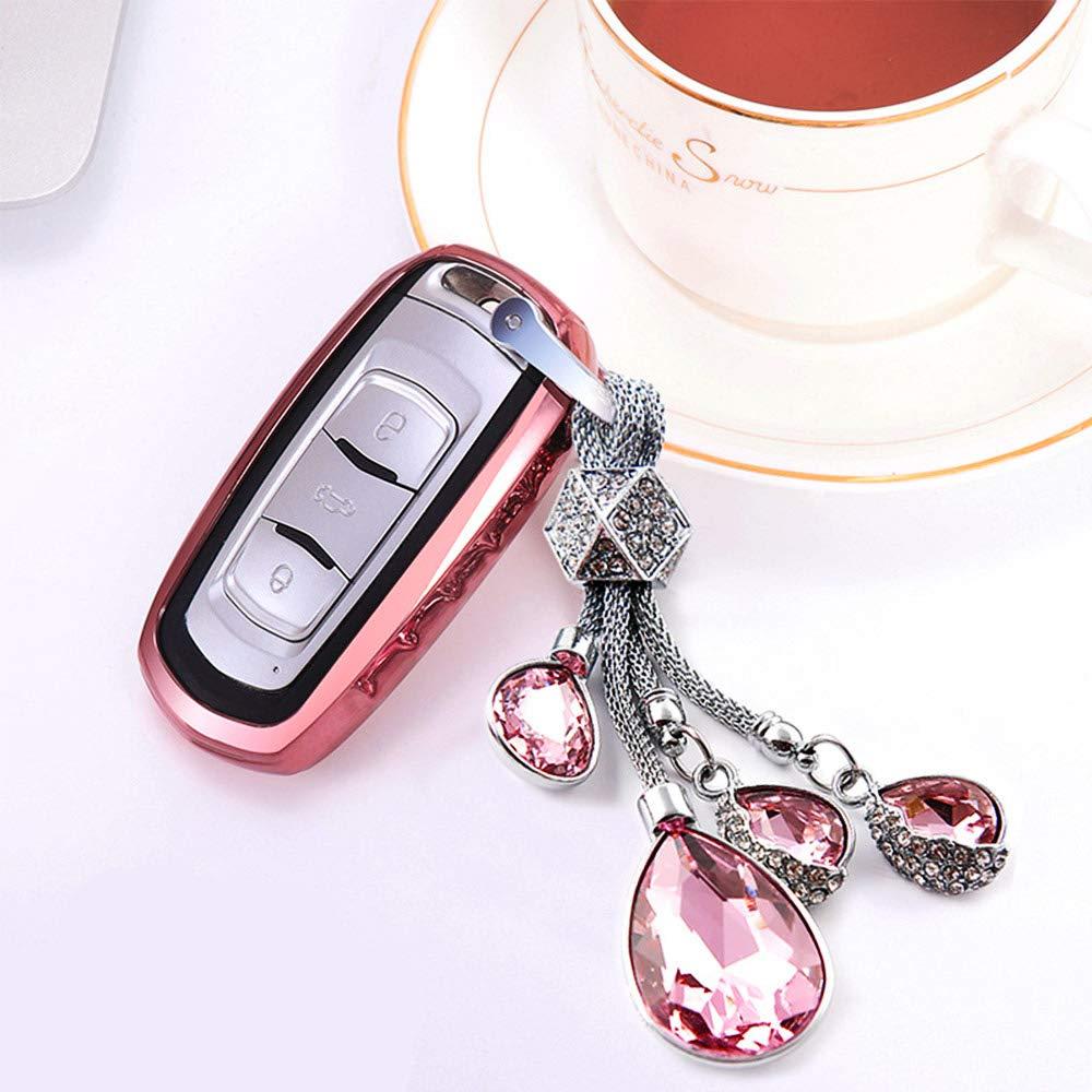Key Chain White Bling Crystal Luxurious Zinc Alloy Car Key Rings Holder Keychain for Ms Aristocracy ESKONKE Car Key Chain with Shining Matrix Diamonds