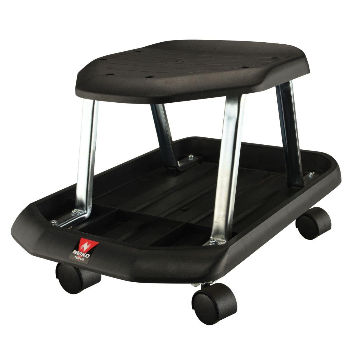 Te echo de menos Mechanics Rolling Shop Seat Creeper Roller Garden Stool w/ Tool Storage Tray